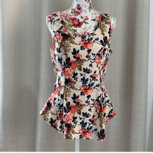 fitted women's floral top lace accent xl